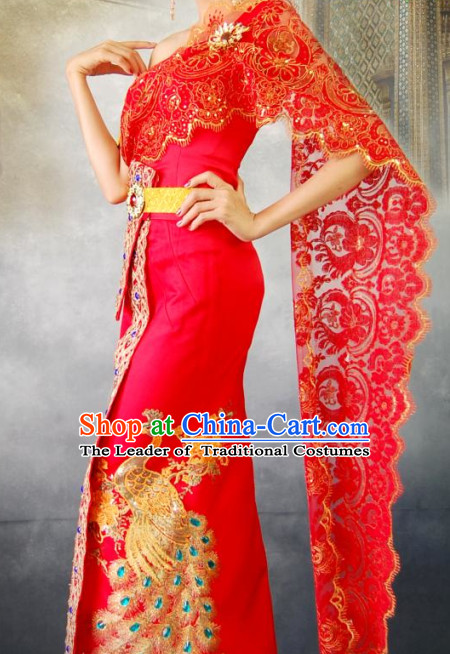 Thailand Peacock Clothing Wedding Dresses for Women