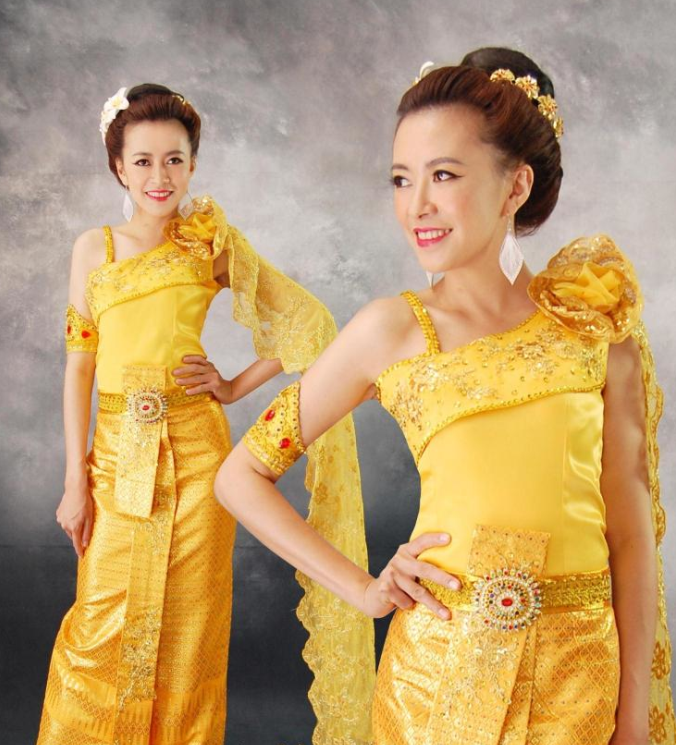 Thailand Traditional National Clothes and Hair Accessories Complete Set for Women