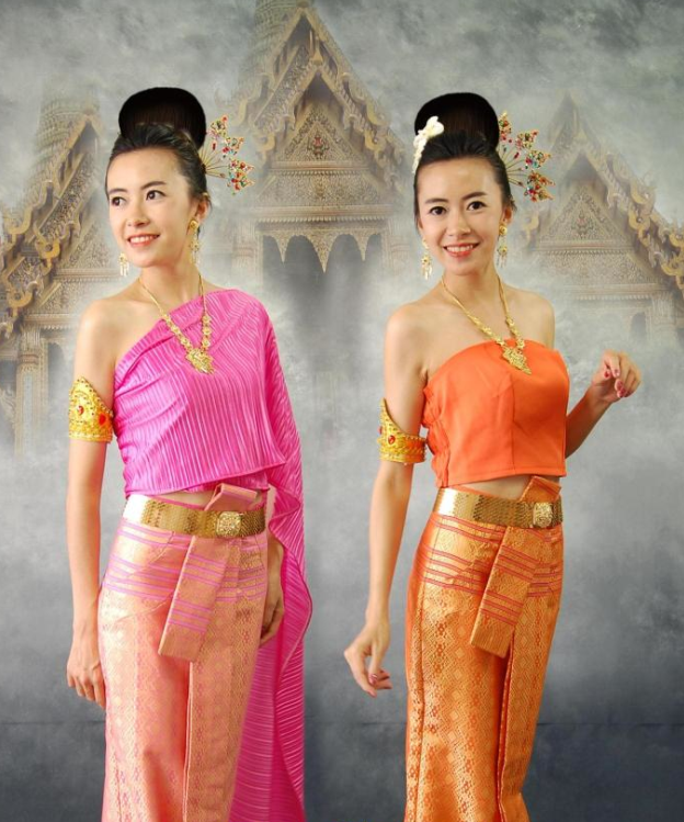Thailand Traditional National Dresses Complete Set for Women