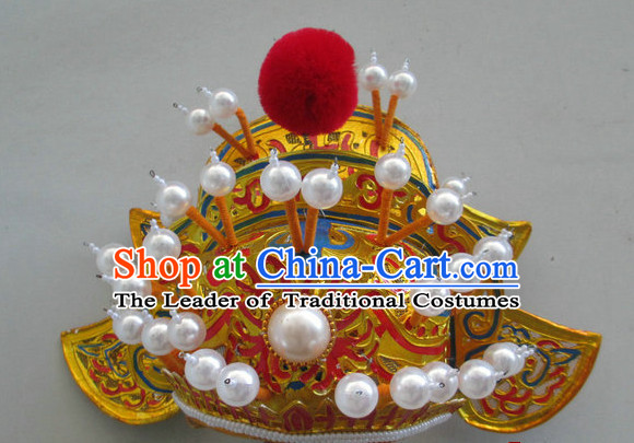 Gold Ancient Chinese Peking Opera Zhong Kui Hat