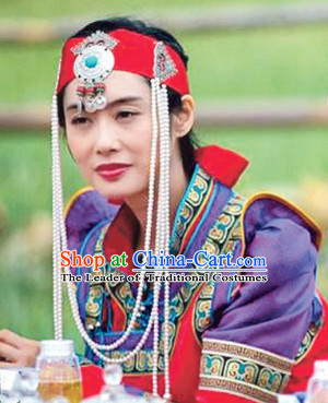 Mongolian Ancient Emperor and Empress Costumes and Hat Complete Set