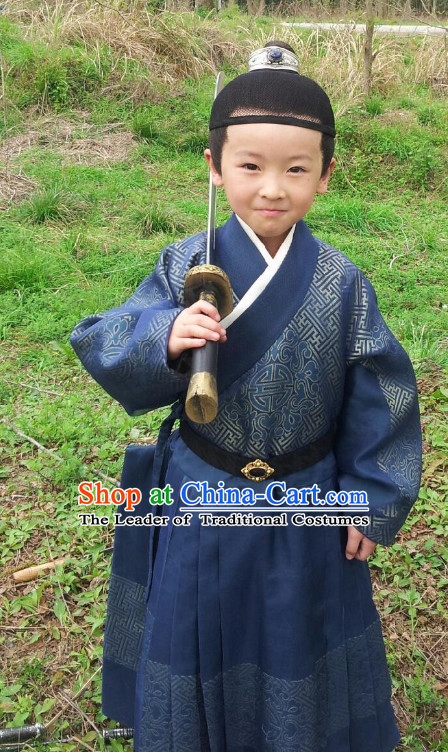 Tang Dynasty Kids Clothes and Headpieces Complete Set
