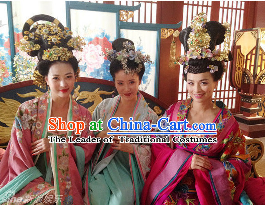 Tang Empress and Concubine Costumes and Hair Accessories Three Complete Sets