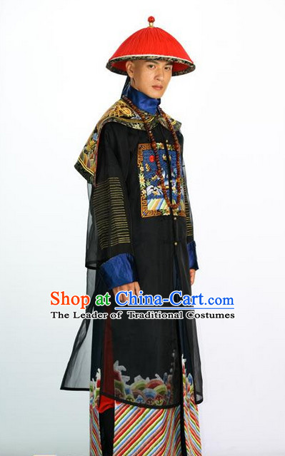 Qing Dynasty Offical Clothes and Hat Complete Set for Men