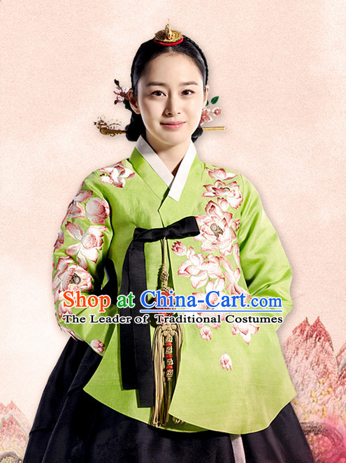 Korean Ancient Princess Hanbok Costumes and Hair Accessories Complete Set