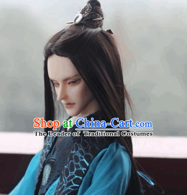 Ancient Asian Black Wigs and Hairpin for Men