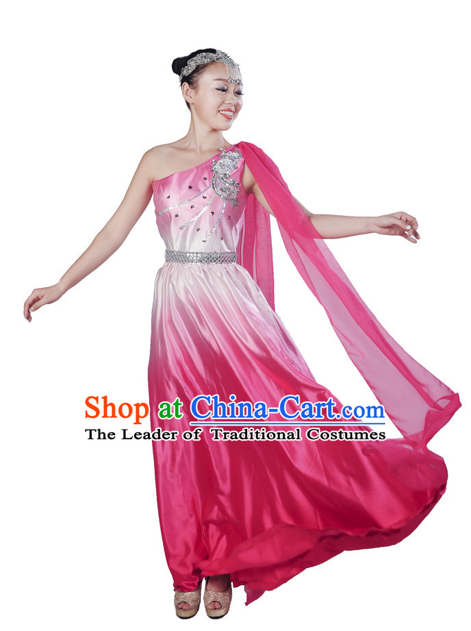 Chinese Color Transition Dance Dresses and Headwear Complete Set for Women