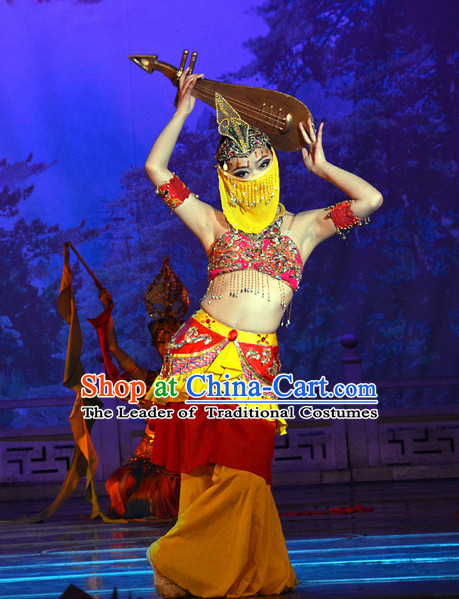 Tang Dynasty Foreigner Dance Costume and Headwear Complete Set for Ladies
