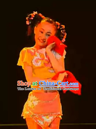 Chinese Folk Handkerchief Dancing Costume and Headwear Complete Set for Children