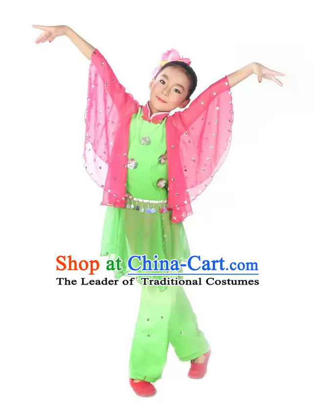 Wide Wings Fan Dance Folk Dance Costume Uniform for Kids