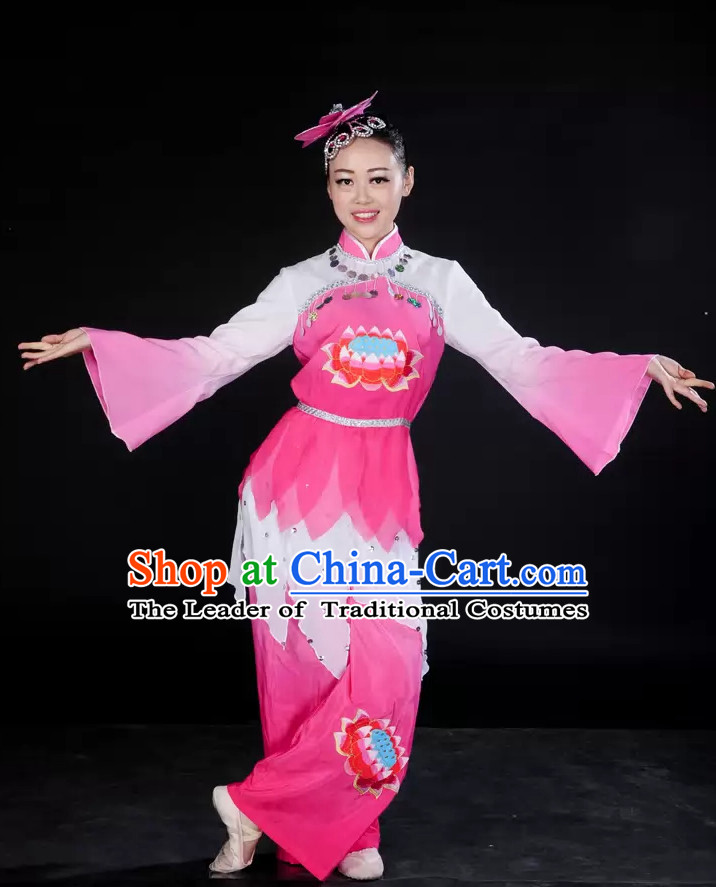 Pink White Lotus Dance Costume and Headpieces for Girl