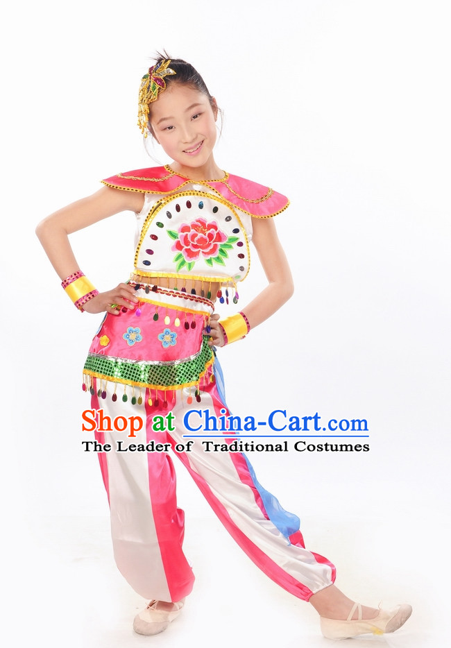 Folk Kids Dance Dresses and Headwear Complete Set.