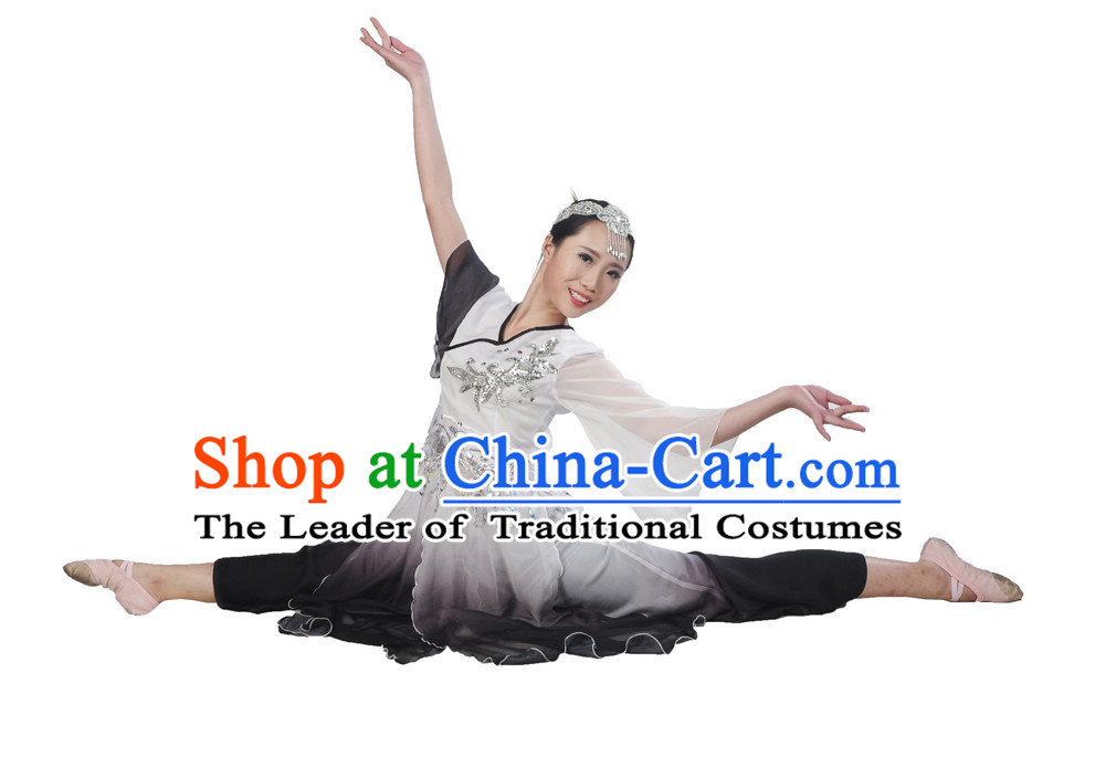 Color Transition Hanfu Costume and Headpieces Complete Set for Women.