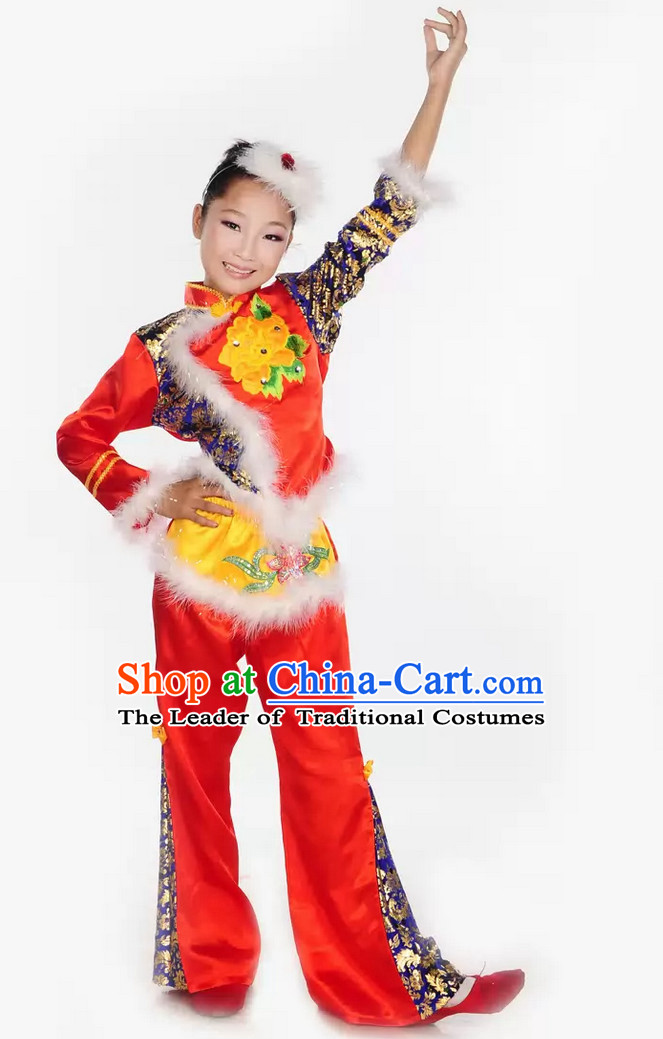 Chinese Lunar New Year Dance Costumes and Headpieces Complete Set for Kids