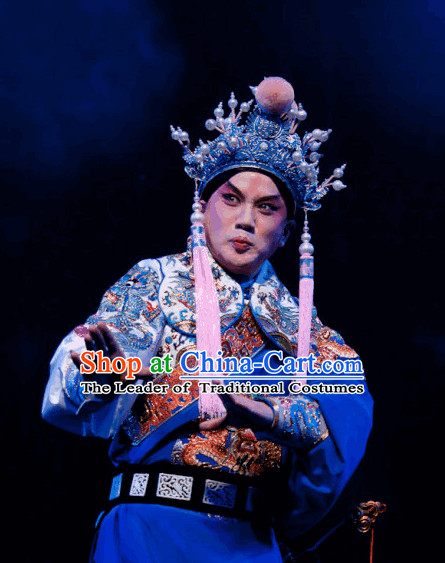 Ancient Chinese Opera General Costume and Hat Complete Set