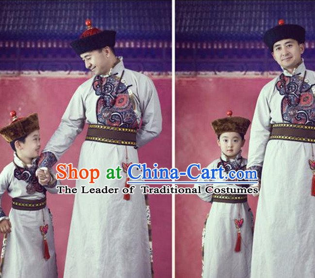 Mongolian Clothing and Hats 2 Sets for Father and Son