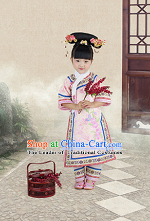 Qing Dynasty Kids Princess Clothes and Headwear Complete Set