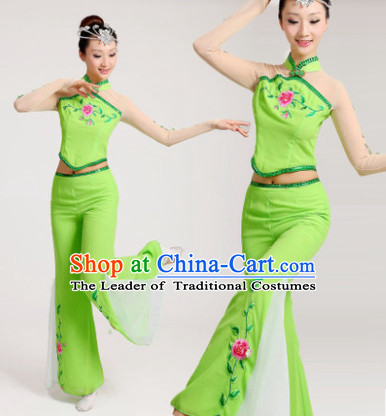 Chinese New Yer Gala Jasmine Flowers Fan Dance Costume and Head Pieces Compelte Set