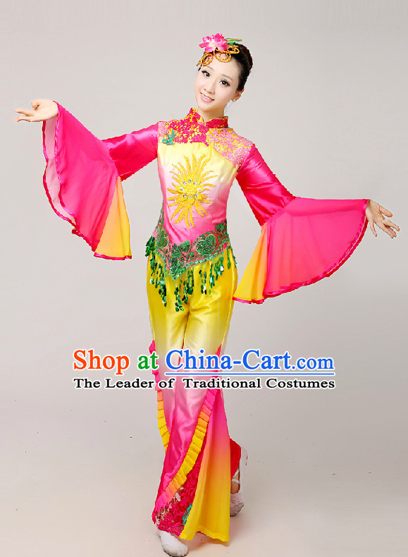 Chinese Festival Celebration Folk Fan Group Dance Costume and Hair Jewelry Complete Set