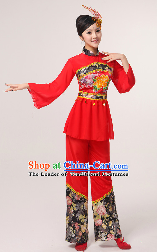 Red Chinese Folk Fan Group Dance Costume and Hair Jewelry
