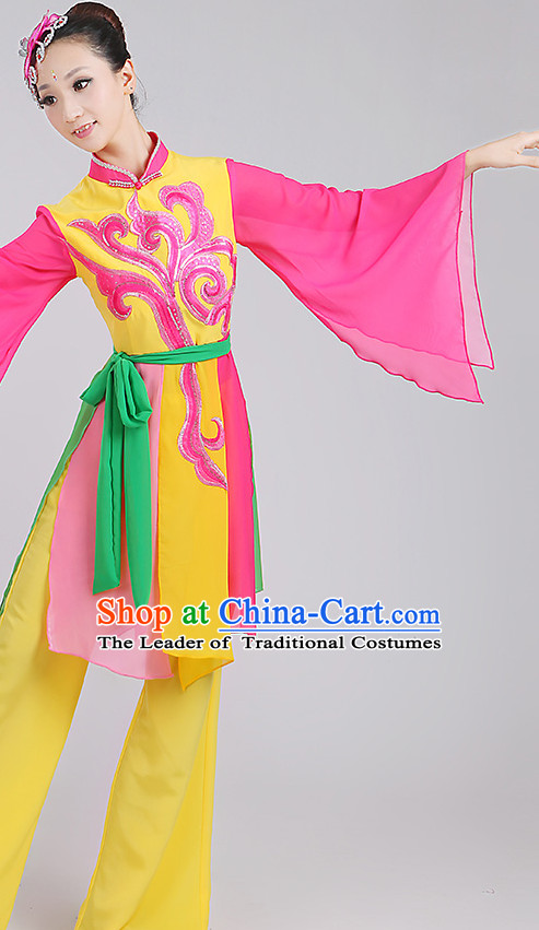 Wide Sleeves Chinese Classicial Ribbon Dance Costumes and Headpieces Complete Set for Woen