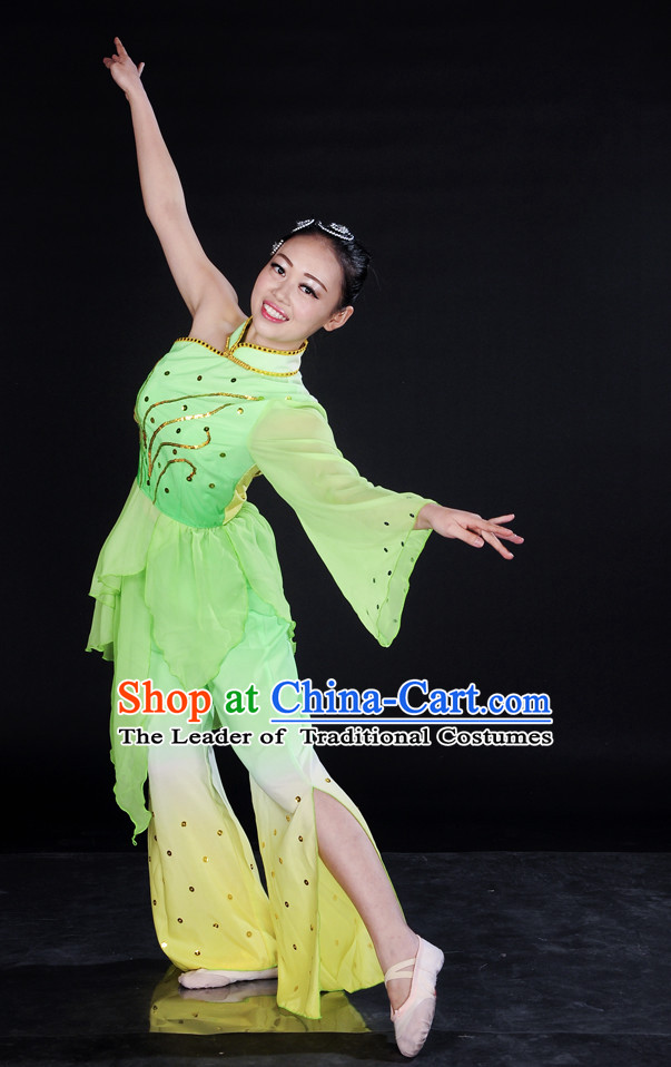 Chinese Light Green Spring Dance Clothes Costume Uniforms for Women