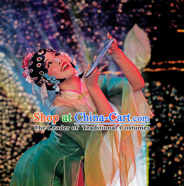 Chinese Classical Opera Dancing Costume and Hair Decorations Complete Set for Women
