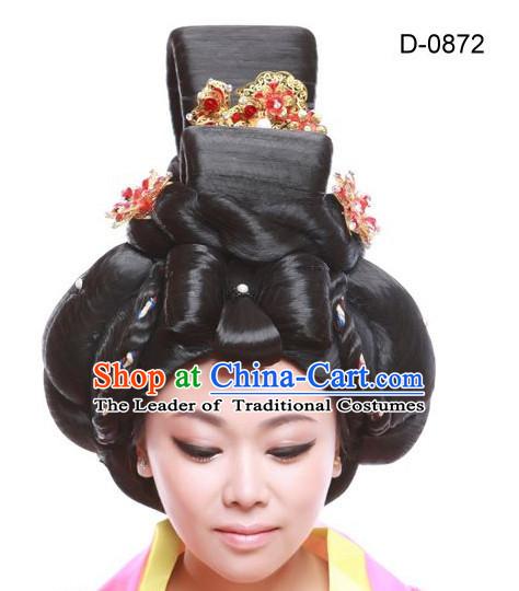 Tang Dynasty Chinese Ancient Queen Hair extensions Wigs Fascinators Toupee Hair Pieces Long Wigs and Accessories for Women