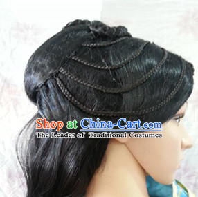 Chinese Ancient Female Knight Black Long Lady Hair extensions Wigs Fascinators Toupee Long Wigs Hair Pieces for Ladies