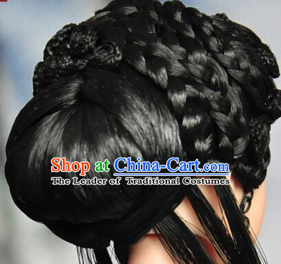 Chinese Black Wigs Tang Dynasty Lady Hair extensions Wigs Fascinators Toupee Long Wigs Hair Pieces Halloween Wigs
