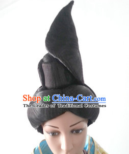 Chinese Hanfu Black Women Opera Wigs for Women