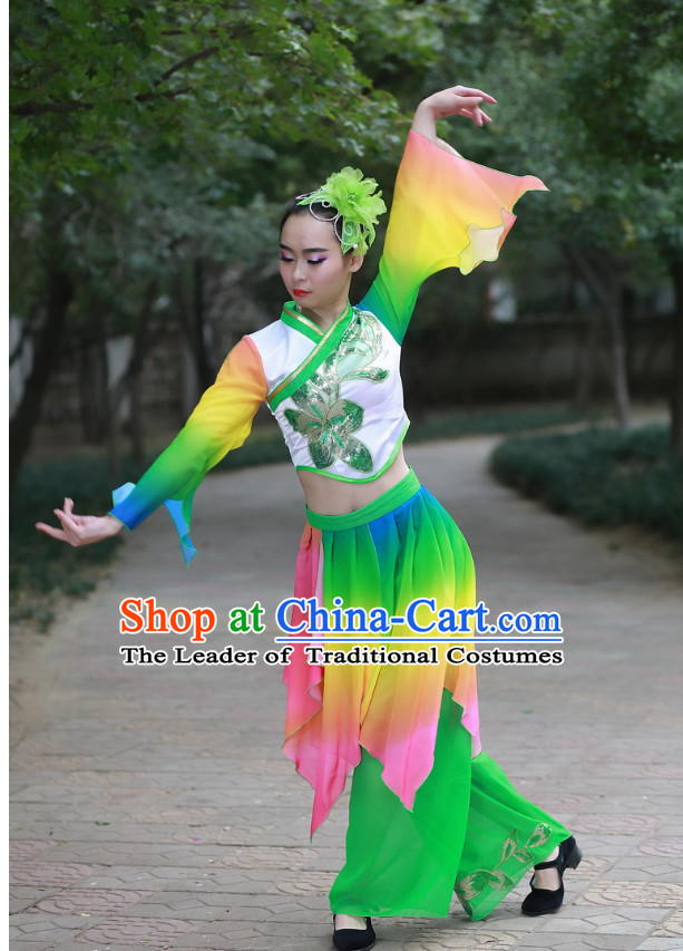 Chinese Folk Fan Dance Costume and Headdress Complete Set