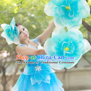 Chinese Custom Made Folk Flower Dance Costume and Headpieces Complete Set for Women