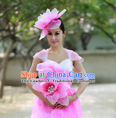 Chinese Custom Made Folk Flower Pink Dance Costume and Headpieces Complete Set for Women