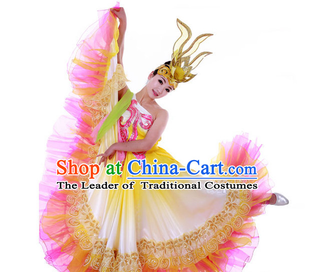 Custom Made Chinese Dance Costume and Headpieces Complete Set for Women