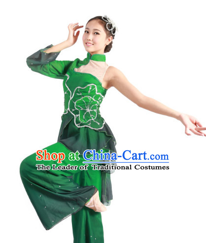 Custom Made Chinese Lotus Dance Costume and Headpieces Complete Set for Women