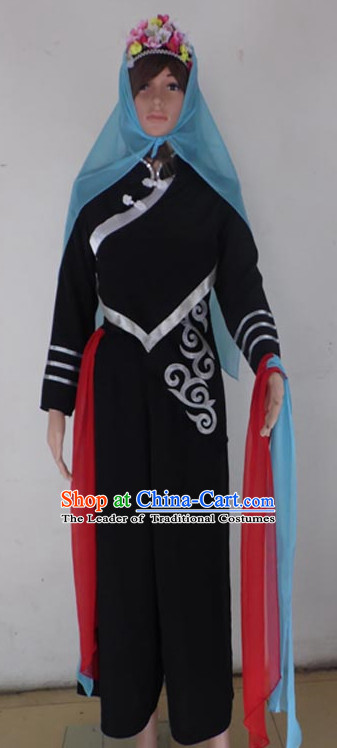 Chinese Quality Folk Dance Costumes and Bamboo Hat Complete Set for Women