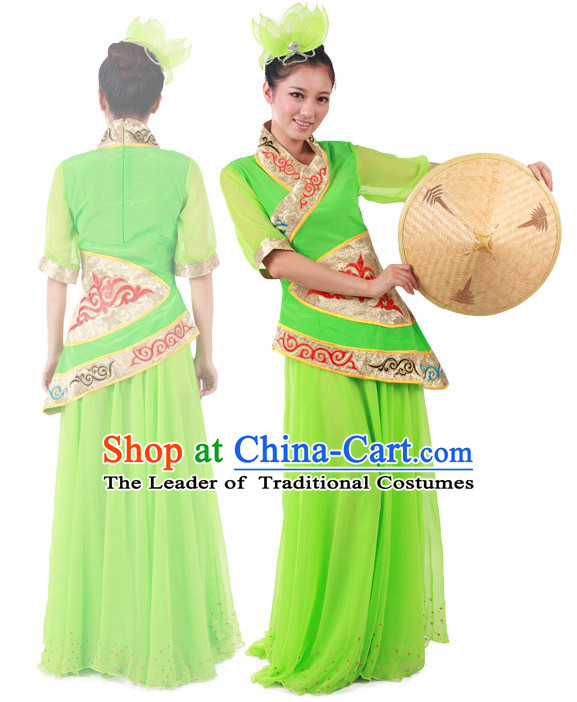 Chinese Teenagers Folk Dance Costume and Headpieces for Competition