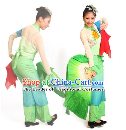 Chinese Teenagers Folk Fan Dance Costume and Headpieces for Competition