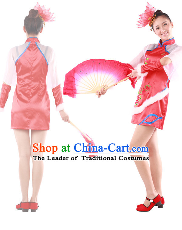 Chinese Teenagers Fan Dance Costume for Competition