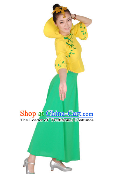 Chinese Teenagers High Collar Folk Dance Costume for Competition
