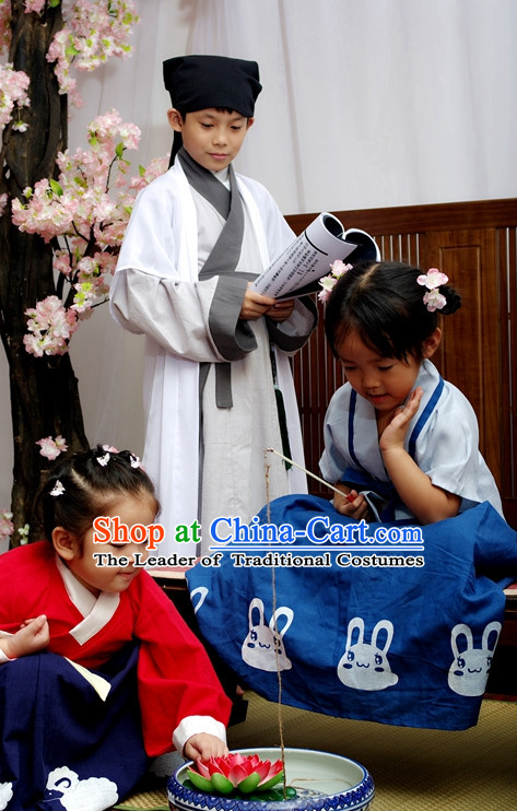 Chinese Traditional Garment and Hat for Boys