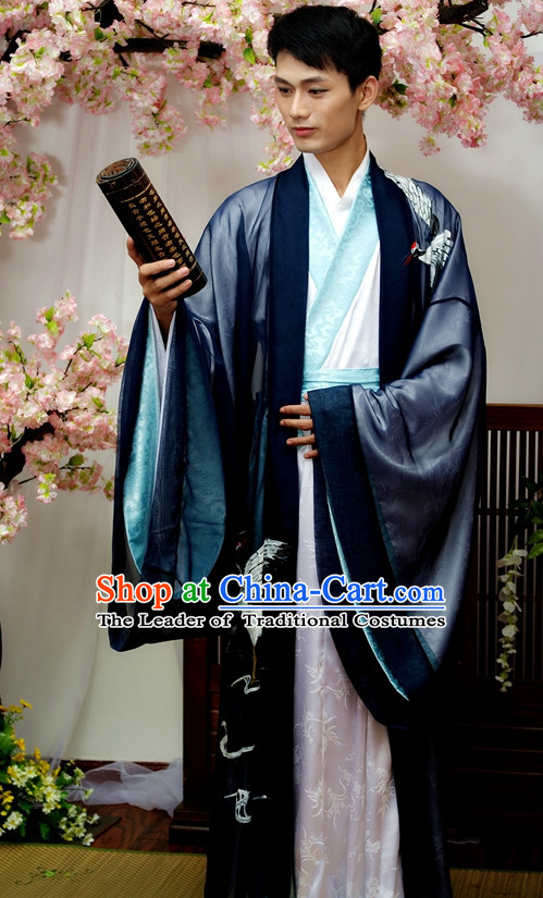 Chinese Male Crane Hanfu Costume Ancient Costume Traditional Clothing Traditiional Dress Clothing online