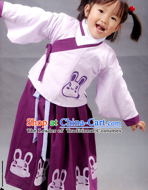 Hands Painted Chinese Kids Rabbit Hanfu Costume Ancient Costume Traditional Clothing Traditiional Dress Clothing online