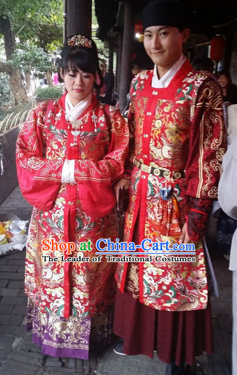 Ancient Chinese Ming Dynasty Wedding Dresses Clothes and Headwear Complete Set for Men and Women