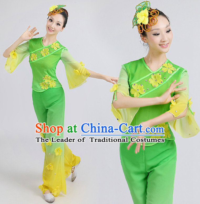 Chinese Green Dance Costumes Costume Discount Dance Costume Gymnastic Leotard Dancewear Chinese Dress Dance Wear