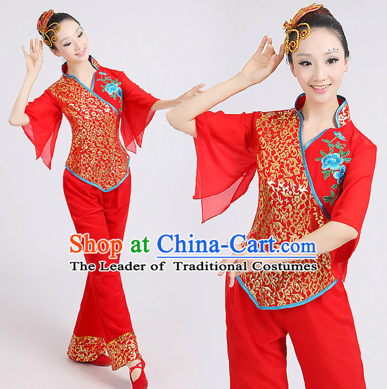 Chinese Red Folk Dance Costumes Group Dancing Costume Dancewear China Dress Dance Wear