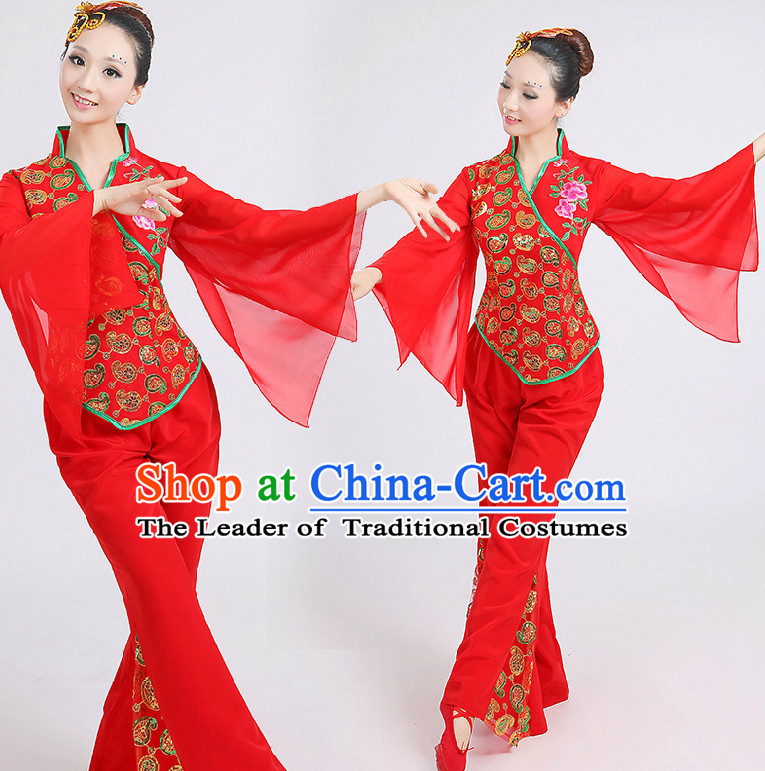 476eb3657 Chinese Red Folk Dance Costumes Group Dancing Costume Dancewear ...