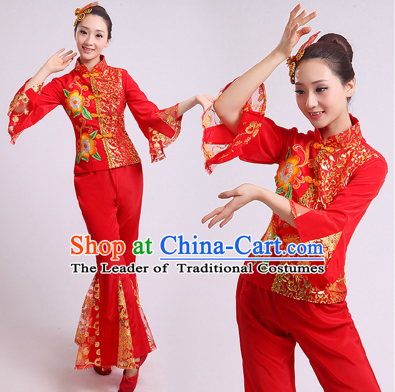 11124264a Chinese Fan Dance Costumes Group Dancing Costume Dancewear China ...