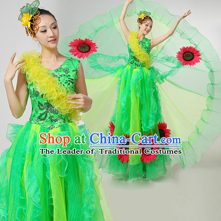 Chinese Festival Celebration Dance Costumes Ribbon Dancing Costume Dancewear China Dress Dance Wear and Hair Accessories Complete Set